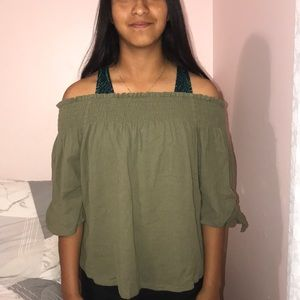 Army Green off the shoulder Blouse